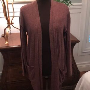 Muted berry long cardigan